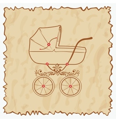 Vintage baby carriage eps10 vector