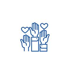 volunteer hands line icon concept volunteer hands vector image