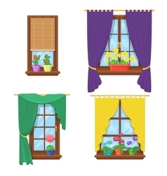 Windows with curtains and flowers set vector