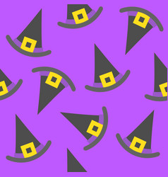 Witch hat halloween seamless pattern flat design vector