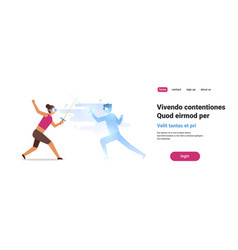 woman fencer wear digital glasses fighting vector image