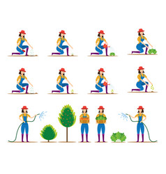 Women character planting vegetable and tree vector