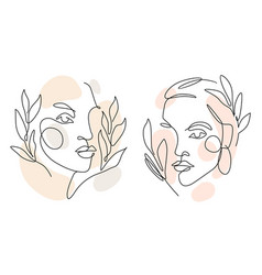 womens faces one line art with leaves vector image