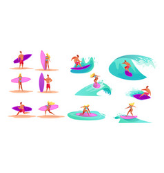 young men women surfing riding waves vector image