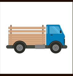 blue truck car with wooden pick-up body vector image