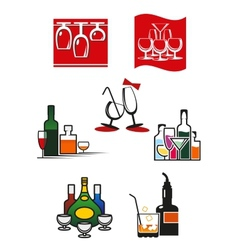 Glasses and alcohol icons or symbols vector image vector image