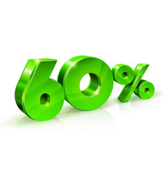glossy green 60 sixty percent off sale isolated vector image