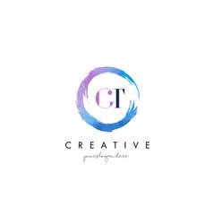gt letter logo circular purple splash brush vector image