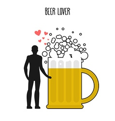 Lover beer infatuated with foamy drink man and vector
