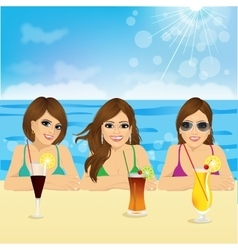 three young women on the beach vector image vector image