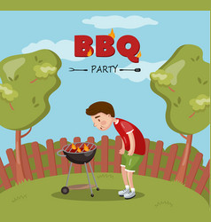 young man cooking barbecue on the backyard bbq vector image vector image