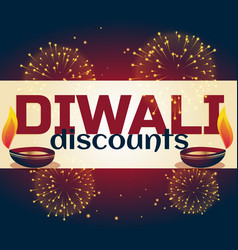 Diwali discount background with two diya and vector