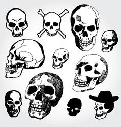Doodled skulls vector