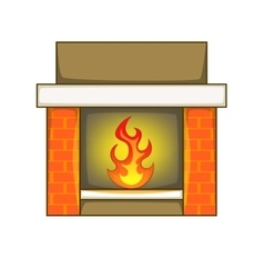 Fireplace icon cartoon style vector image