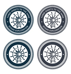 Nautical emblem with steering wheel vector image