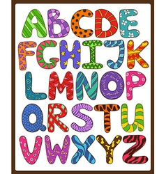 Children Alphabet With Cartoon Capital Letters vector image vector image