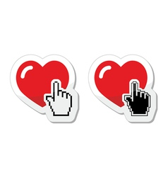 Heart with cursor hand labels - valentines love vector image vector image