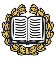 open book and laurel wreath-book emblem vector image vector image