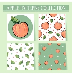 Seamless hand drawn red apple patterns set vector image vector image