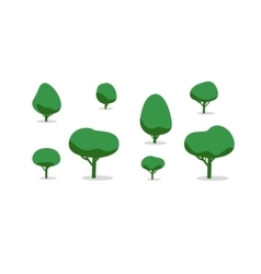 Set of different trees with shadows simple style vector image
