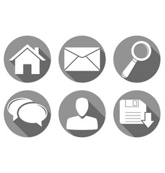 set of round gray internet icons vector image