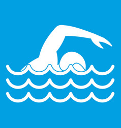 swimmer icon white vector image vector image