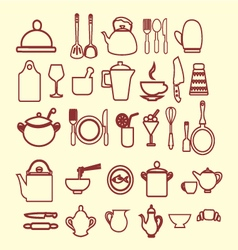 kitchen and restaurant icon kitchenware set vector image vector image