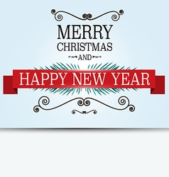 Merry Christmas Card Retro Xmas Greeting Banner on vector image
