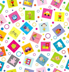 Seamless background with toys and cartoon kids vector image vector image