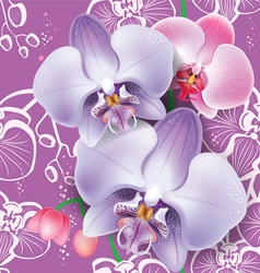 Seamless floral pattern with pink orchid vector image vector image
