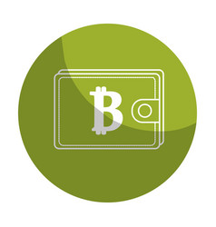 sticker bitcoin symbon in the wallet to save money vector image
