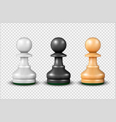 3d realistic white black and wooden pawn vector
