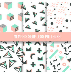 Abstract memphis style seamless pattern set vector
