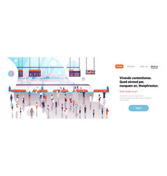 airport interior passengers baggage walking vector image