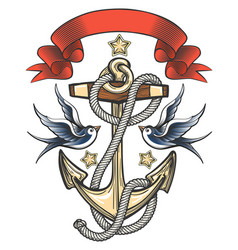 anchor with swallows and ribbon vector image