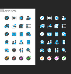 approve icons light and dark theme vector image
