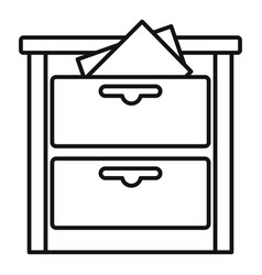 Archive drawer icon outline style vector