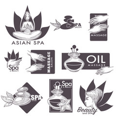 Asian spa massage and beauty salon icons vector