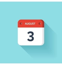 August 3 Isometric Calendar Icon With Shadow vector