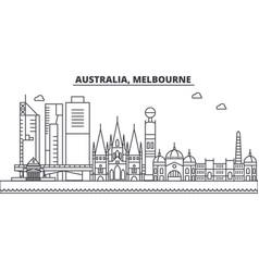 Australia melbourne architecture line skyline vector