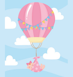 baby shower hanging little girl at hot air vector image