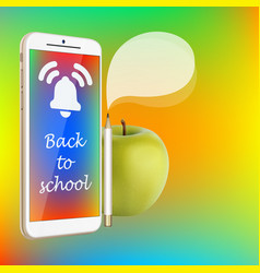 back to school smartphone green apple pencil vector image