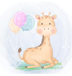 Bagiraffe with balloons vector