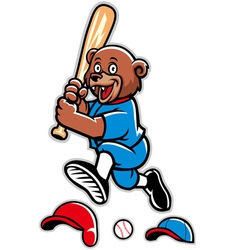 Baseball bear mascot vector