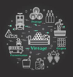 Black banner winemaking and harvesting - vintage vector