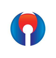 Blue wing or lock logo design vector