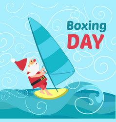 boxing day santa wind surf concept background vector image