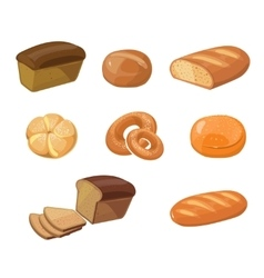 Bread bakery products cartoon icons vector