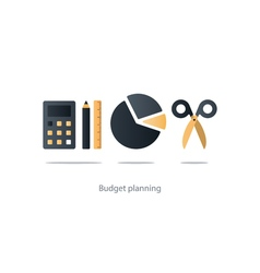 Budget cut scissors financial knowledge pencil and vector