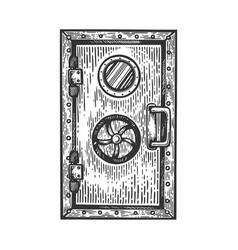 bunker door engraving vector image